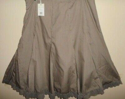 W LANE cotton blend SKIRT size 16 NEW&tags donkey grey&mesh work casual panels