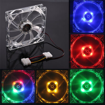 4 Pin 120mm PC Computer Clear Case Quad 4-LED Light 9-Blade CPU Cooling Fan 20cm