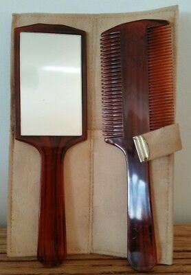Vintage Comb and Mirror Set in Wallet