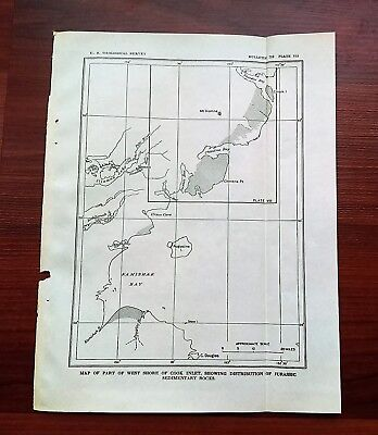 1921 Map of West Shore Cook Inlet Jurassic Rocks Kamishak Bay