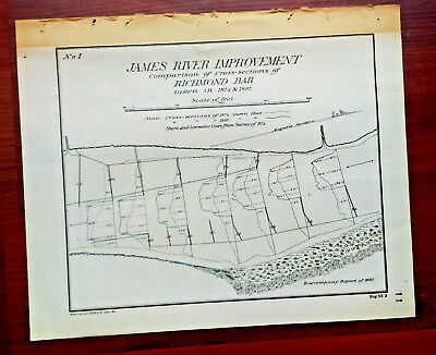 1892 Map of James River VA Improvement Comparison Richmond Bar Cross-Sections