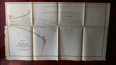 1892 Map of Entrance to Sabine Pass Texas Survey Major James B. Quinn