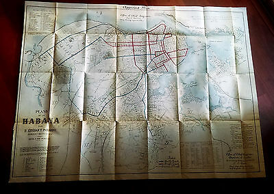 1900 Plano de la Habana Cuba Map Showing Approved Plan Engineering Dept