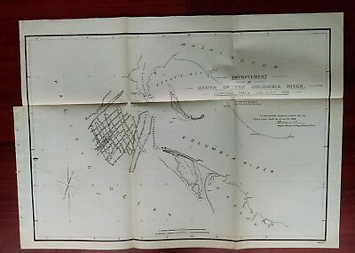 1892 Map of Columbia River Washington Oregon Clatsop Split Cape Disappointment