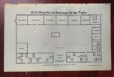 1900 Architectural Sketch Diagram Civil Hospital at Santiago de Las Vegas Cuba
