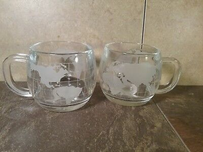 Vintage - Nescafe Nestle Etched Glass World Globe Coffee Cup - Pair! (2)