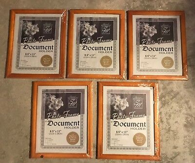 Lot of 5 NEW Photo Document Holder Frames Light Wood - Special Moments