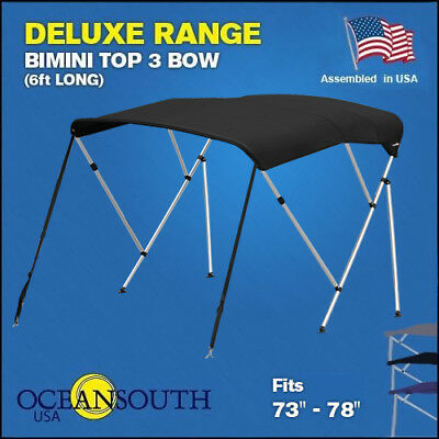 """BIMINI TOP 3 Bow Boat Cover Black 73""""-78"""" Wide 6ft Long With Rear Poles"""
