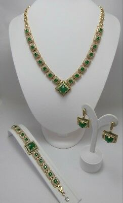 Exalted ! 925 Sterling Silver Rich Brazil Emerald  Full Sets