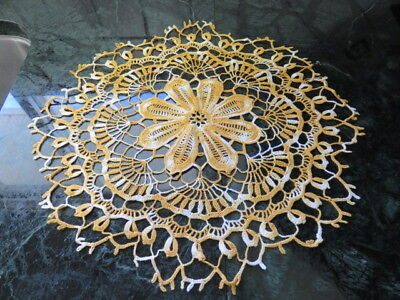"Vintage Crochet Doily - Variegated Yellow - 16"" In Diameter - Handmade"