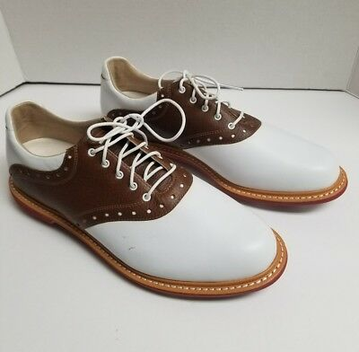 44a49f5200165 NEW MEN S ASHWORTH Kingston Golf Shoes White tan Brown Size 9 Us ...
