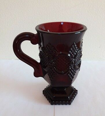 Vintage Avon Ruby Red Glass The 1876 Cape Cod Collection Pedestal Mug ~ DEFECT!