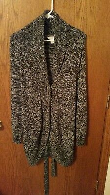 Women's THREE SEASONS MATERNITY Black & White Belted Sweater-XL-GREAT CONDITION!
