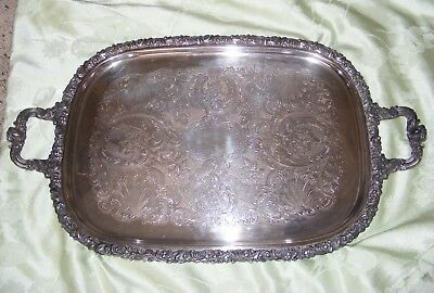 Vintage Friedman Silverplate Footed 2 Handle Large Butler Serving Tray-Beauty!