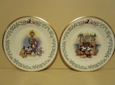 Retired Lenox Christmas Holiday Plate DISNEY FEATURING MICKEY & CO Set of 2
