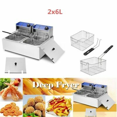 2 x 6L 2 x 2500W FRITEUSE Electrique Inox Double Cuve Amovible Huile Friture New
