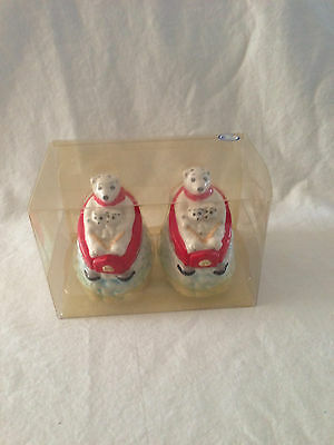 Coca Cola Polar Bear Downhill Salt & Pepper Shakers Set new