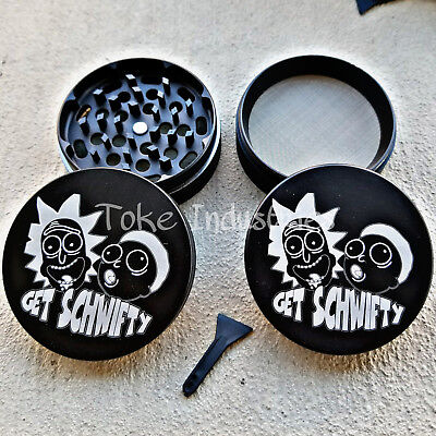 63mm Rick And Morty Custom Grinder Herb Fire Grinder 420 Get Schwifty Bud 2.5""