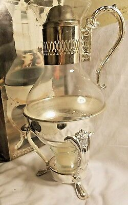 Vintage Intl. Silver Co. Silverplate Glass Coffee Carafe Pot w Warmer Stand