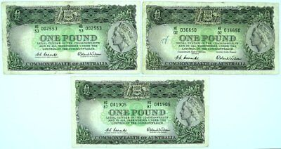3 x 1 Pound Note Coombs Wilson
