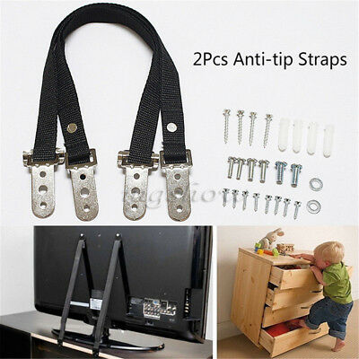 2x Anti-tip TV Furniture Positioning Straps Anchor Baby Child Safety Proofing UK
