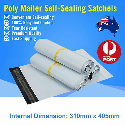 310 x 405mm Poly Mailer Plastic Satchel Courier Self Sealing Shipping Bag
