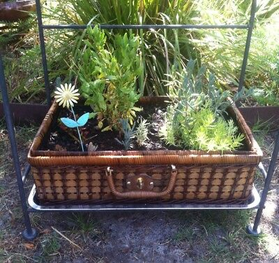 Wicker Plant Stand On Metal Frame, Baskets X2 With Plants, Ornaments.