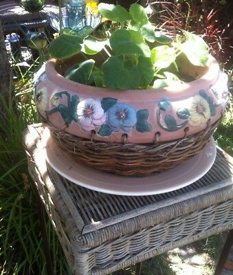 Wicker/Cane Plant Stand With A Metal Frame,Hand Crafted Terracotta Pot + Plant