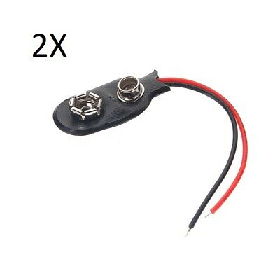2X CONNECTOR FOR BATTERIES 9V battery power supply clip cable snap small