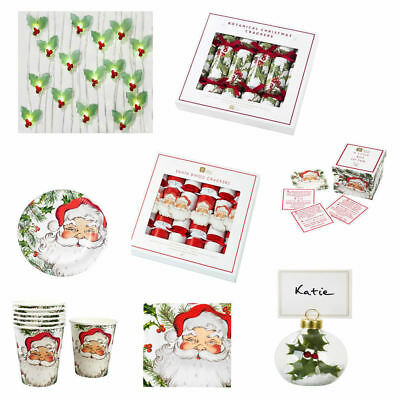 Christmas Paper Plates Santa Napkins Cups Crackers Holly Lights