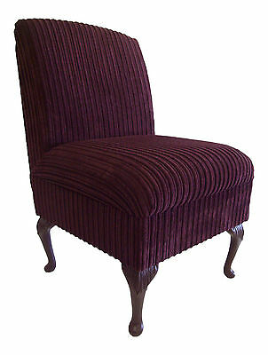 Bedroom Chair Aubergine Jumbo Cord Fabric On Queen Anne Style Legs