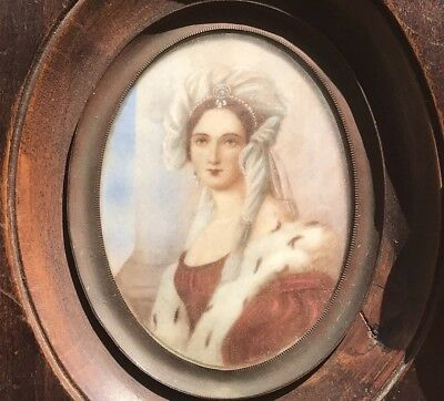 Antique Hand Painted Italian Miniature Portrait 1900's Unsigned