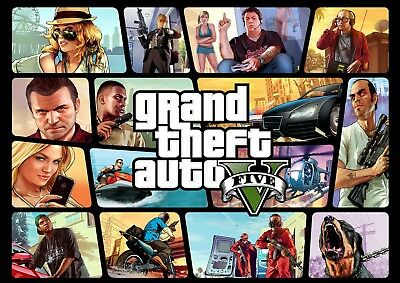 Gta Grand Theft Auto 5 V Wall Art Poster (A1 - A5 Sizes Available)