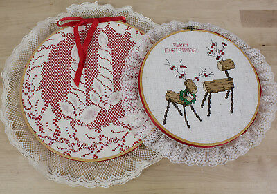 Handmade Cross Stitch Christmas Art Decoration Completed Finished with Hoop