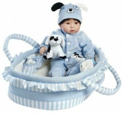 Paradise Galleries Boy Baby Doll W / Dog, Finn and Sparky, 17 inch GentleTouch