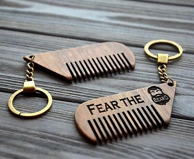 Custom Wooden Key Chain Comb Personalized Engraved Beard Mustache Hair comb