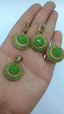 Turkish 925 Sterling Silver Handmade Jewelry Green Chalcedony Ladie's Full Set