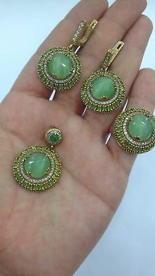 Turkish 925 Sterling Silver Handmade Jewelry Green Chalcedony Ladie's Full Set.
