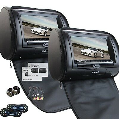 Universal Pair of Car Headrests with 7 Inch Dual DVD Player for Car Support U...