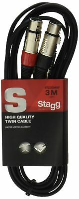 Stagg 25018317 3 m S Series Twin RCA Male to Twin XLR Female Cable