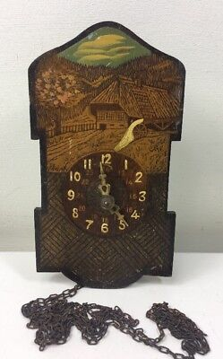 Vintage Poker Pen Work Wood Wall Clock - Rustic Alpine Scene - Hanging Chains