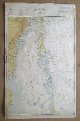 "Vtg 1951 C&GS Nautical CHART #848 INTRACOASTAL WATERWAY FL 24"" x 38.5"""