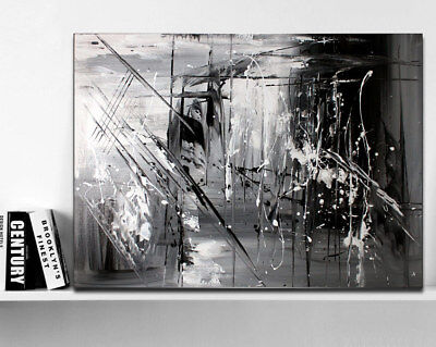 HAND PAINTED ABSTRACT Oil Painting on Canvas Wall Art Black and ...