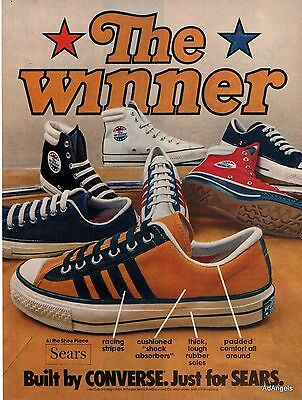 1974 Converse The Winner Tennis Shoes Sneakers Low Cut High Tops Sears ad