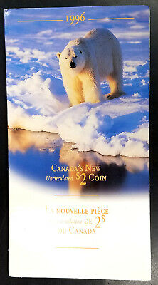1996 Canada Two Dollars (Toonie) Uncirculated coin in presentation folder!