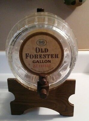 Old Forester Mini Keg Glass Barrel on Wooden Stand