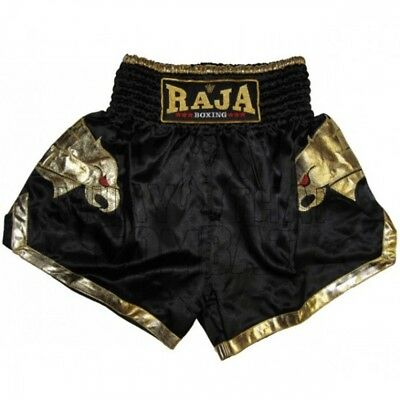 Raja Muay Thai Black Satin Shorts