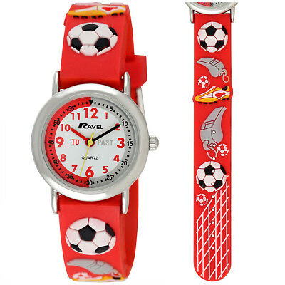 Ravel Kids Time Teacher Football Mad Watch, 3D Graphics on Red Silicone Strap