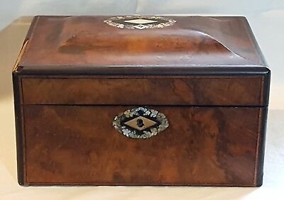 Rosewood wood & mother of pearl vintage Victorian antique sewing jewellery box