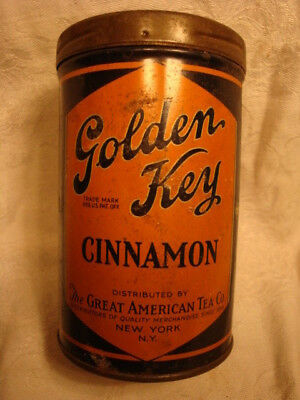 Great American Tea Co NY Golden Key Cinnamon Tin 1920s 1930s 9oz Large Spice Can